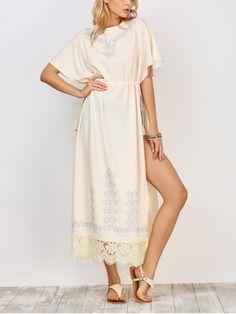 Drawstring High Slit Maxi Dress - WHITE M