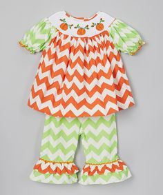 Take a look at this Orange & Green Pumpkin Top & Pants - Infant & Girls on zulily today!