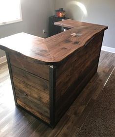 If you love black walnut and you need the perfect bar for your man crib, entertainment area, or living space.....then this industrial style bar is perfect for you! We use kiln dried 2 thick KS black walnut and plain and sand level, then treat it with a bar grade satin poly acrylic. We