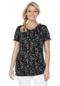 Typ , Shirt, |Material , Viskose, |Materialzusammensetzung , 100% Baumwolle, |Ausschnitt , rund, |Ärmelstil , kurz, |Gesamtlänge , ca. 66 bis 74 cm, | ...