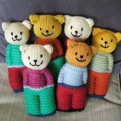 Aussie knitting threads: ready teddy in the square . aussie knitting threads: ready teddy in the square thread Classic jacket Free Knitting Pattern, Teddy Bear Knitting Pattern, Knitted Doll Patterns, Knitted Teddy Bear, Teddy Bears, Knitted Baby, Crochet Baby, Knit Crochet, Knitted Dude Dolls, Crochet Toys