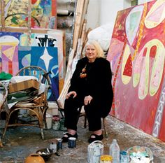 Gillian Ayres in her Cornwall Studio. Wonderful paintings.