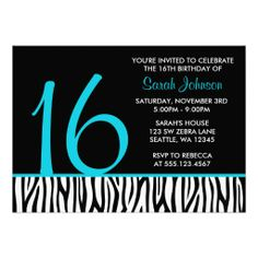 Teal And Black Zebra Sweet 16 Number Birthday Personalized Invite