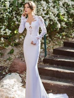 Mermaid V-neck Court Train Jersey Wedding Gown With Lace
