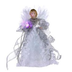 Kurt Adler 12-Inch CUL White/Silver Fiber Optic LED Angel Treetop