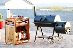 Today @Addicted2DIY1 brings you the free plans for this handy DIY BBQ Accessory Cart!  It's a great way to store all of your BBQ and grilling necessities as well as extra counter space when BBQing or grilling your favorite foods! http://spr.ly/6494BFrMA
