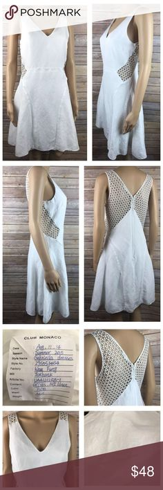 "Club Monaco Size 6 White Gabriella ☀️ Sun Dress This Club Monaco Gabriella line Sundress is very pretty and romantic, with laser cut crochet like sides. sleeveless with zipper in back, fully lined.  Perfect for the summer nights ahead! Style # 295553454 Size 6 linen blend this dress has a very small mark on the front waist area, it looks removable but I haven't tried. please see all pictures. Armpit to armpit 17"" shoulder to hem 36"" all items from a smoke free home Club Monaco Dresses"