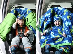 Car Seat Ponchos Dinos - Cozy Gozy Travel Capes are warm winter kid fleece car seat blanket capes th Car Seat Poncho, Blanket Poncho, Car Seat Blanket, Sewing For Kids, Baby Sewing, Sew Baby, Baby Bibs, Sewing Ideas, Sewing Crafts
