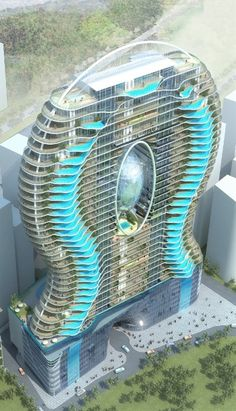 Zwembalkons in Mumbai. Each room has its own pool, what an amazing design.