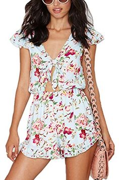 St Lamour Women Floral Prints Tie Chest Elastic Waist Rompers XXs * Check out the image by visiting the link.(This is an Amazon affiliate link and I receive a commission for the sales)