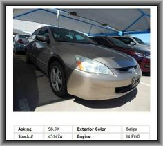 2004 Honda Accord EX w/Leather Sedan  Rear Seats Center Armrest With Pass-Thru, Diameter Of Tires: 16.0, Coil Rear Spring, Overall Width: 71.5, Rear Shoulder Room: 56.1, Metal-Look Door Trim, Double Wishbone Front Suspension, Two 12V Dc Power Outlets, Tilt And Telescopic Steering Wheel, Remote Power Door Locks,