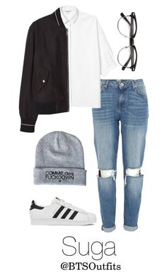 """Imitating Him at a Fansign: Suga"" by btsoutfits ❤ liked on Polyvore featuring River Island, Monki, MANGO and adidas"