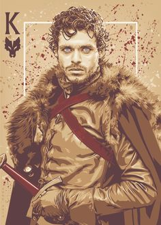 """Robb Stark, Lord of Winterfell, King in the NorthThe latest in my Playing Card"""" series, all of which can be viewed herehttp://ratscape.tumblr.com/post/52745572728/game-of-thrones-playing-cards-posters #got #agot #asoiaf"""
