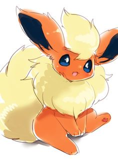 Flareon - By Pokemon Flareon, Gif Pokemon, Pokemon Fan Art, Cute Animal Drawings, Kawaii Drawings, Cute Drawings, Tv Anime, Anime Plus, Pokemon Mignon