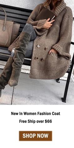 Double-Breasted Fashion Thick Sweater Cardigan Coat – knitting sweaters for women Crochet Dress Outfits, Thick Sweaters, Mode Outfits, Outerwear Women, Fashion 2020, Pulls, Knit Cardigan, Coats For Women, Double Breasted