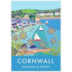 Vintage Style Seaside Travel Art Poster by Joanne Short of Polruan Harbour, Cornwall
