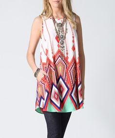 Look what I found on #zulily! Coral Geometric Side-Pocket Swing Tunic #zulilyfinds