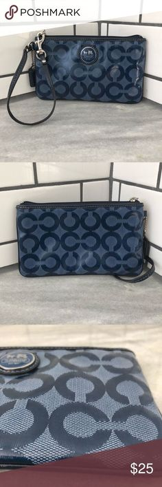 "Coach Wristlet Great Wristlet! Outside has no visible flaws. Inside has some stains (pictures). No inside pockets. Dimensions are 7""x4"" fits regular iPhone size. Very cute i just do not use. Coach Bags Clutches & Wristlets"