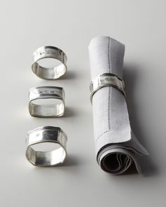 Four Assorted Pewter Napkin Rings - Vagabond House