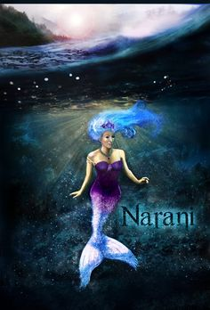 An artistic rendering of the mermaid princess, Narani, from The Half-Hearts Trilogy, by authoress, Kealohilani. Artwork done by Steven Squire.