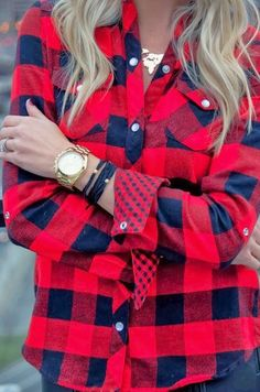 red plaid, gold accessories