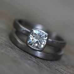 Moissanite White Gold Engagement Ring, 14k Palladium White Gold, Solitaire Cushion Cut Wedding Ring, Eco Friendly, Conflict Free Fool just about anyone and feel good wearing this Charles and Colvard Moissanite Gemstone Ring. Absolutely no conflict here, and every bit as gorgeous.