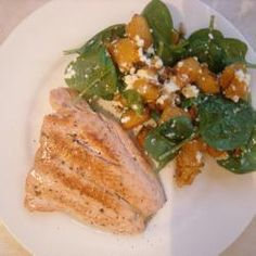 Baby Spinach, Roasted Pumpkin, Feta and Pinenut Salad