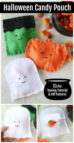 This felt Halloween candy pouch sewing tutorial is so easy for kids to follow! Make a ghost, pumpkin, or monster and fill with treats! Easy Kids Sewing Projects, Halloween Sewing Projects, Halloween Fabric, Halloween Candy, Easy Halloween, Sewing Tutorials, Halloween Food Crafts, Halloween Activities For Kids, Diy Halloween Decorations