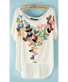 Cute Cheap Heart print high-low T-shirt - T-Shirt Online Shopping Free… Trade Clothes, Diy Clothes, Fabric Embellishment, Free Online Shopping, Loose Shorts, Denim Shorts, Heart Print, Refashion, Passion For Fashion