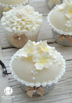 Cream and Ivory high dome cupcakes.