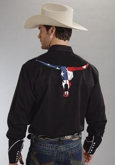 Roper Americana Mens Black Poly Rayon Longhorn Flag L/S Western Shirt Western Style Shirt, Western Shirts, Western Wear, Western Apparel, Rodeo Shirts, Country Outfits, Western Outfits, Cowgirl Outfits, Western Dresses