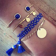 Composition bleue et dorée en vente à L'Atelier d'Amaya