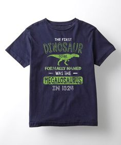 Love this Navy Megalosaurus Fact Tee - Toddler & Kids on #zulily! #zulilyfinds