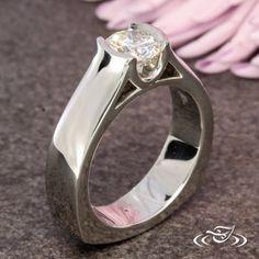 Design Your Own Unique Custom Jewelry at Green Lake Jewelry Works! Custom Platinum modern inspired half bezel set diamond engagement ring