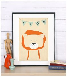 Kids room decor, lion print, nursery wall art, kids room art print, nursery animal print, nursery artwork, cute baby animal, minimalist art  ------  This poster is a high-quality print made on 200g/m2 matte paper with a large-format professional Epson printer using only original inks for long-lasting, vivid colors.  The listing is for the print only. No framing or matting is included. Watermark will not appear in your print. Actual colors may differ slightly from what you see on the scre...
