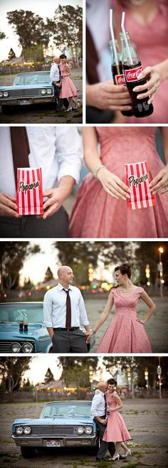 Vintage drive-in engagement-- Precious!