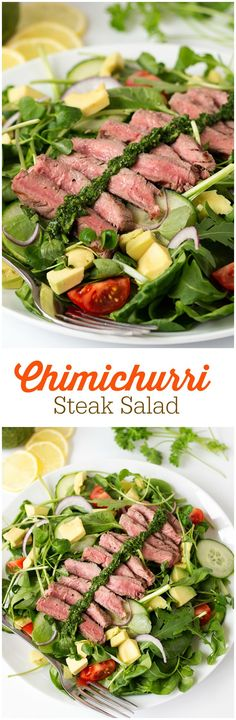Chimichurri Steak Salad - Simple recipe for Chimichurri Steak Salad that is bright, healthy and light, but still packs a huge punch in the taste department!: