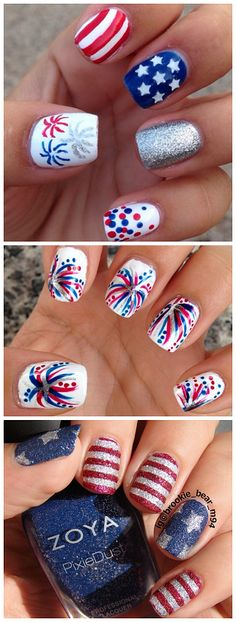 of July Nail Art I really love these Fourth of July nail art designs! I think the fireworks nail art is my favorite.I really love these Fourth of July nail art designs! I think the fireworks nail art is my favorite. Diy Nails, Cute Nails, Pretty Nails, Nail Art Vernis, Nail Polishes, Nail Nail, Firework Nails, Patriotic Nails, Nail Design Spring