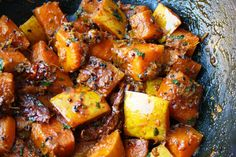 Kumro Chenchki' is spiced squash (or red pumpkin) fried with some simple ingredients including chilli, a classic Bengali spice 'panch puran' and turmeric. The squash is cooked with the skin as I think it holds the chunks better. The key for this simple dish is to get the balance of sweet and spicy right.....