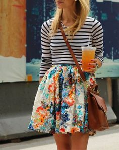 THE PERFECT PAIR: Striped Shirt + Leather Crossbody Bag THE WILD CARD: Floral-Print Skirt via @PureWow
