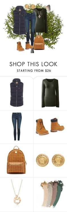 """""""Take a Hike"""" by klm62 ❤ liked on Polyvore featuring True Religion, Lands' End, Topshop, Timberland, MCM, Versace, Ross-Simons and Gucci"""