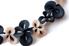 Polymer Clay Flower Necklace, Black and Blush Pink Orchid Blossoms, Statement Necklace on Etsy, $116.00
