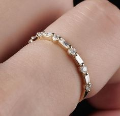 Wedding band. Full Cut Round and Baguette Diamond Ring by MRoseDesign on Etsy