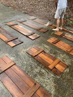 How to Make Cedar Shutters Wooden Shutters Exterior, Cedar Shutters, Wood Shutters, House Paint Exterior, Exterior House Colors, Houses With Shutters, Outside Window Shutters, Cafe Shutters, Cottage Shutters