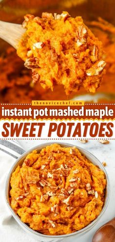 One of the best Thanksgiving side dishes in the Instant Pot! So creamy with a little burst of crunchy pecans, this maple-flavored homemade mashed sweet potatoes recipe is the perfect addition to your… Thanksgiving Gravy, Best Thanksgiving Side Dishes, Easy Thanksgiving Recipes, Easy Mashed Sweet Potatoes, Sweet Potato Skins, Sweet Potato Recipes, Potluck Side Dishes, Side Dishes Easy, Best Instant Pot Recipe