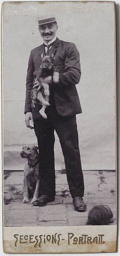 1890s CDV Man with Dogs