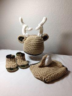 Crochet NB through 12 mos baby deer outfit by CrochetbyDestinee, $40.00