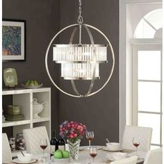 Brushed Nickel Crystal Orb 6-light Chandelier | Overstock.com Shopping - The Best Deals on Chandeliers & Pendants