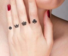 17 Awesome Crown Tattoo Designs to Let Your Royal Heart Dig On poker crown tattoo Finger Tattoos, Crown Finger Tattoo, Diamond Finger Tattoo, Mini Tattoos, New Tattoos, Body Art Tattoos, Small Tattoos, Poker Tattoos, Crown Tattoos For Women