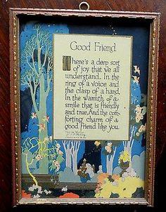 ANTIQUE 1925 BUZZA MOTTO- GOOD FRIEND- ART DECO STYLE- IN ORIGINAL FRAME
